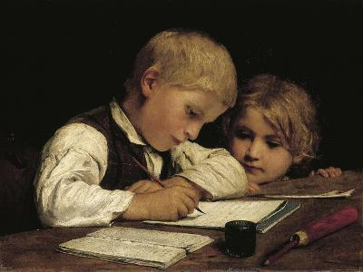 Boy Writing with His Sister, 1875-Albert Anker-Giclee Print