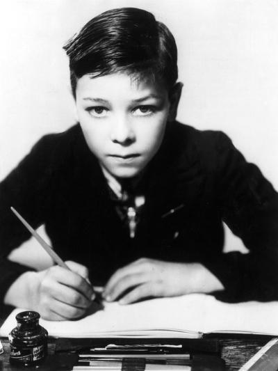 Boy Writing--Photographic Print