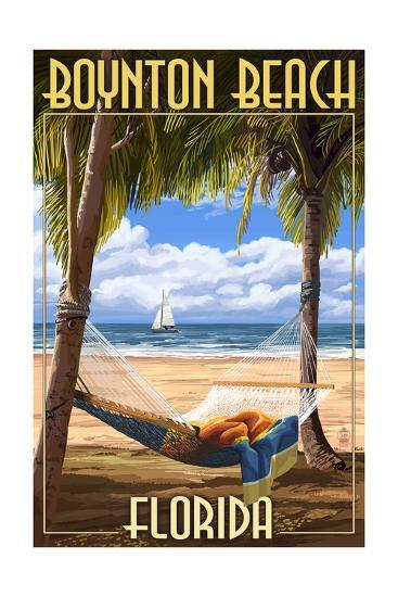 Boynton Beach, Florida - Palms and Hammock-Lantern Press-Art Print