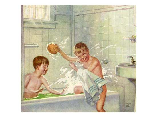 Boys Bathing, 1935--Giclee Print