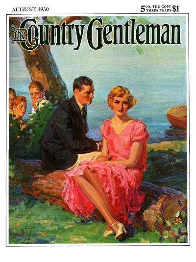 """""""Boys Eavesdropping on Courting Couple,"""" Country Gentleman Cover, August 1, 1930-Frank Bensing-Giclee Print"""