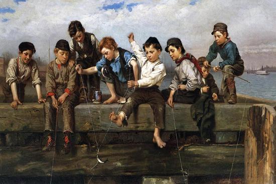 Boys Fishing, 1880-John George Brown-Giclee Print
