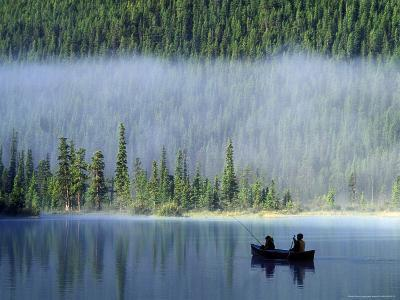 Boys Fishing on Waterfowl Lake, Banff National Park, Alberta, Canada-Janis Miglavs-Photographic Print