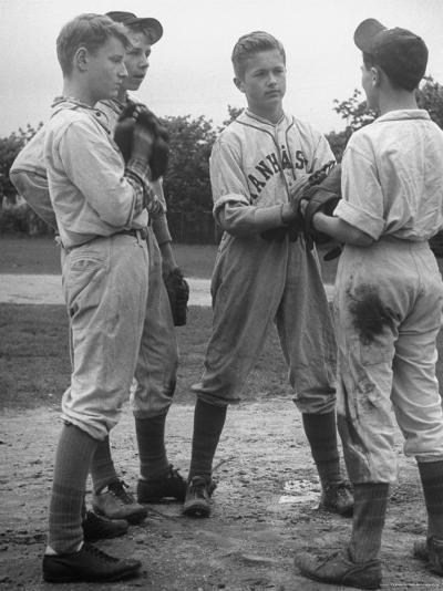 Boys Having a Discussion Before Playing Baseball-Nina Leen-Photographic Print