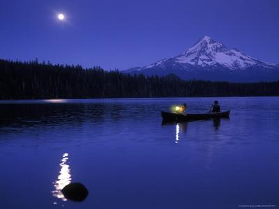 Boys in Canoe on Lost Lake with Mt Hood in the Distance, Mt Hood National Forest, Oregon, USA-Janis Miglavs-Photographic Print