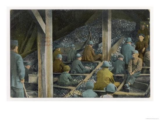 Boys Picking Slate out of Mined Coal in an American Mine--Giclee Print