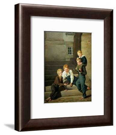 Boys playing dice in front of Christiansborg palace in Copenhagen.-Constantin Hansen-Framed Giclee Print