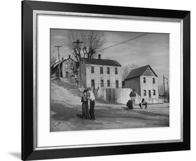 Boys Playing in Front of Old House on Mark Twain Avenue--Framed Photographic Print