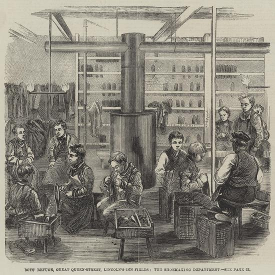 Boys' Refuge, Great Queen-Street, Lincoln'S-Inn Fields, the Shoemaking Department--Giclee Print