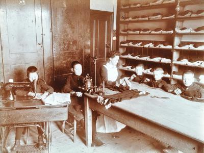 Boys Sewing at the Boys Home Industrial School, London, 1900--Photographic Print