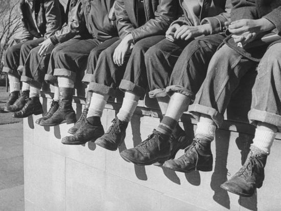 """Boys Sporting Their Latest Fad of Wearing G.I. Shoes Which They Call """"My Old Lady's Army Shoes""""-Alfred Eisenstaedt-Photographic Print"""