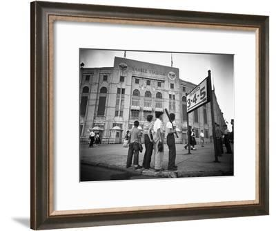 Boys Staring at Yankee Stadium--Framed Photographic Print