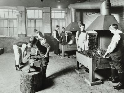 Boys Using Forges in a Blacksmiths Shop, Beaufoy Institute, London, 1911--Photographic Print