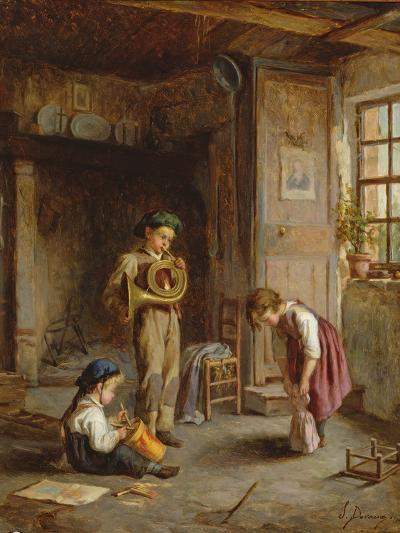 Boys with French Horn and Drum, 19th Century-J. Devaux-Giclee Print