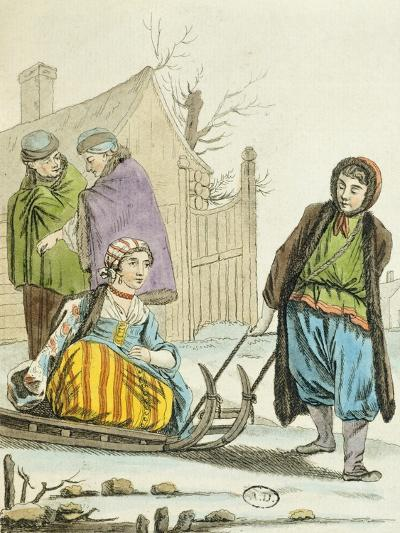Boys with Sleigh, Russia 19th Century--Giclee Print