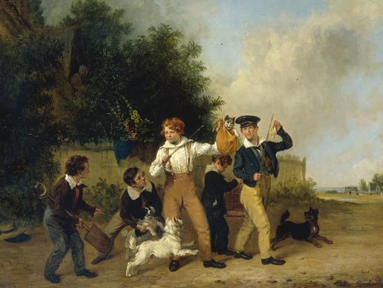 Boys with their Pets, 1841-Edmund Bristow-Giclee Print