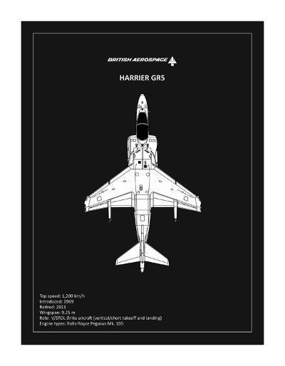 BP BAE HarrierGR5 Black-Mark Rogan-Giclee Print