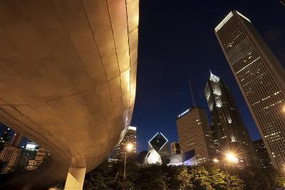 Bp Bridge at Millennium Park and Chicago Skyline at Dusk-Alan Klehr-Photographic Print