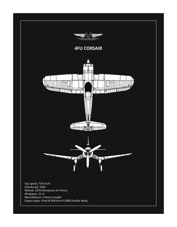 BP CV F4U-Corsair Black-Mark Rogan-Giclee Print