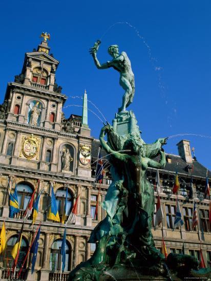 Brabo Fountain and Town Hall, Antwerp, Eastern Flanders, Belgium-Steve Vidler-Photographic Print