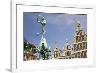 Brabo Fountain by Jef Lambeaux in Grote Markt-Jon Hicks-Framed Photographic Print