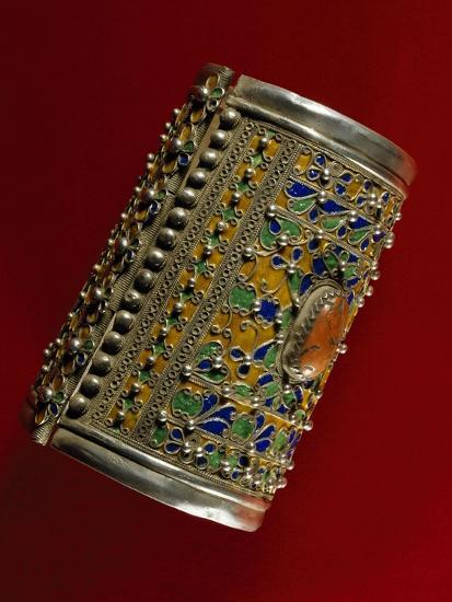 Bracelet in Coral, Silver and Enamel, Morocco--Giclee Print