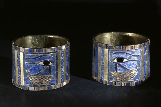 Bracelets with Wedjat eyes, Ancient Egyptian, 22nd dynasty, c890 BC-Werner Forman-Photographic Print