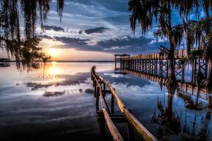 Jacksonville, Fl: Sunset Lights Up the Pier and Canoe Ramp by Brad Beck