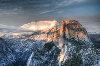 Yosemite National Park, California: Clouds Roll in on Half Dome as Sunset Falls on the Valley