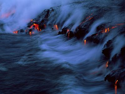 Molten Lava Flowing Into the Ocean by Brad Lewis