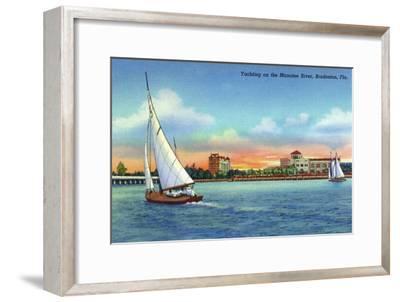 Bradenton, Florida - Sailboat on Manatee River-Lantern Press-Framed Art Print