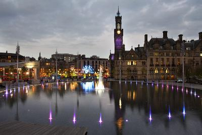 Bradford City Park and Garden of Light Display, Centenary Sq, Bradford, West Yorkshire, England, UK-Mark Sunderland-Photographic Print