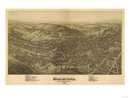 Bradford, Pennsylvania - Panoramic Map-Lantern Press-Art Print