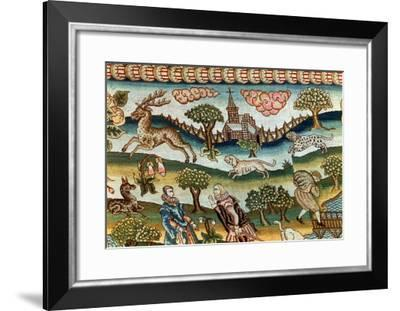 Bradford Table Carpet, Hounds Chasing a Stag, Embroidered on Linen Canvas, 16th Century--Framed Giclee Print