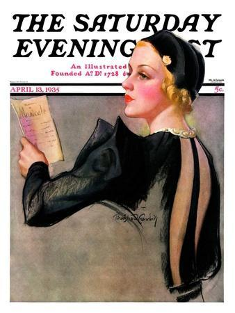 """""""Woman at the Theater,"""" Saturday Evening Post Cover, April 13, 1935"""