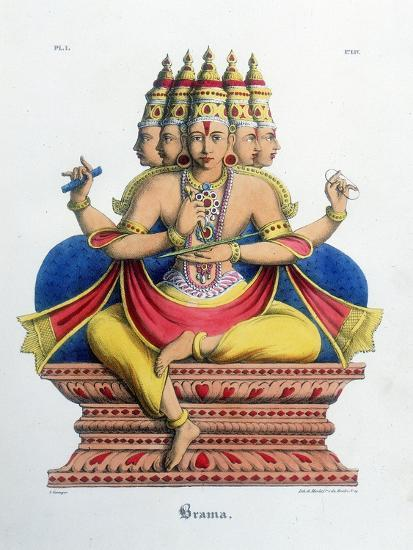 Brahma, First God of the Hindu Trinity (Trimurt), and Creator of the Universe, C19th Century-A Geringer-Giclee Print