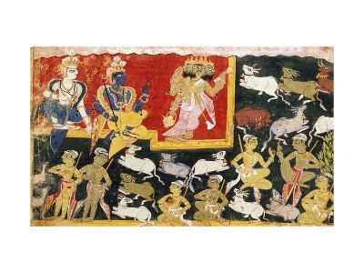 Brahma Offering Homage to Krishna as the Incarnation of Vishnu, C.1540-1575--Giclee Print
