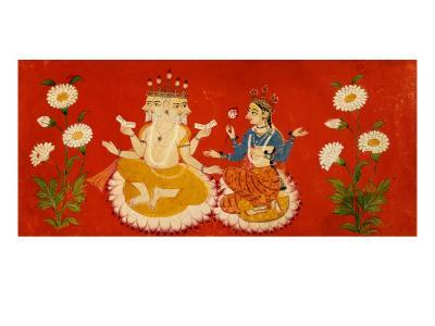 Brahma Seated with Saraswati Brahma Holding Four Vedas and Saraswai Clutching Lotus Petal, c.1650--Giclee Print