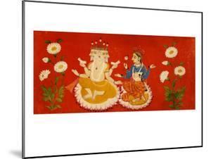 Brahma Seated with Saraswati Brahma Holding Four Vedas and Saraswai Clutching Lotus Petal, c.1650