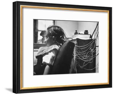 Brain Impulses Are Measured by Electroencephalograph Readings from Electrodes at Headache Clinic-Gordon Parks-Framed Premium Photographic Print