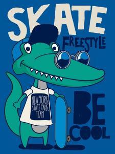 Cool, Cute Monster Crocodiles Character. Skate, Skateboard by braingraph