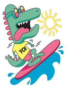 Cool, Cute Monster Crocodiles Character. Surfer, Surf, Surfboard by braingraph