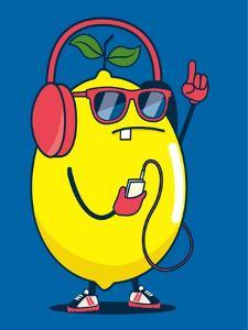 Cool Lemon Character Vector Design for Kids Tee Shirt by braingraph