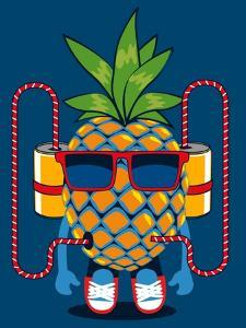 Cool Pineapple Character Vector Design by braingraph