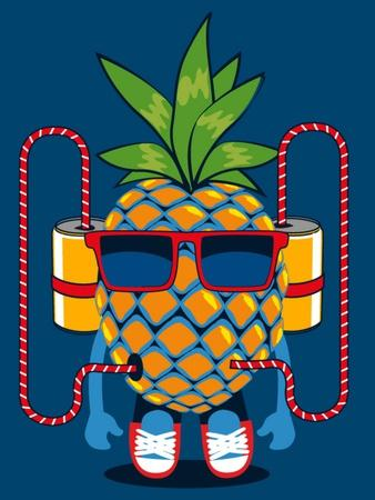 Cool Pineapple Character Vector Design