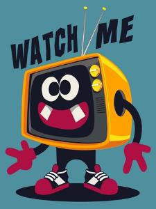 Cool Retro Television Character Vector Design for Tee by braingraph