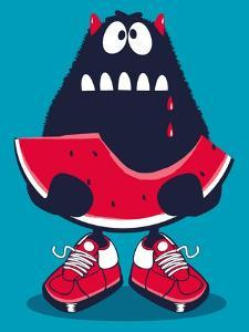 Cute Monster, Watermelon Vector Design by braingraph