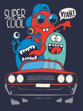 Cute Monsters in Car Vector Design
