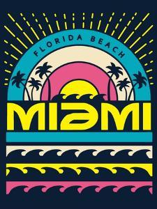 Miami Surf Typography, T-Shirt Graphics, Vectors by braingraph