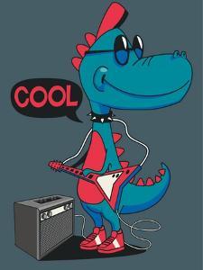 Monster, Dinosaur Rock Star Vector Design for Tee Shirt by braingraph